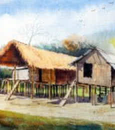 Landscape Watercolor Art Painting title 'Miching Tradition House 3' by artist Biki Das