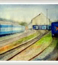 Cityscape Watercolor Art Painting title 'Railway station' by artist Biki Das