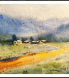 Landscape Watercolor Art Painting title 'Landscape' by artist Biki Das