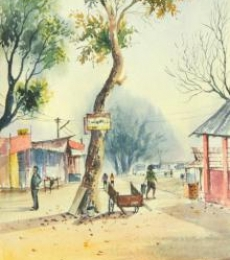 Cityscape Watercolor Art Painting title Water colour On the spot at ASSAM by artist Biki Das