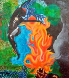 Religious Oil Art Painting title 'Durga' by artist Nishant Mishra
