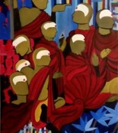 Figurative Acrylic Art Painting title 'The Society' by artist Nishant Mishra