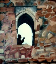 Figurative Oil Art Painting title 'Ziyarat' by artist Nishant Mishra