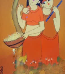 Figurative Acrylic Art Painting title Best Friends by artist Dnyaneshwar Bembade