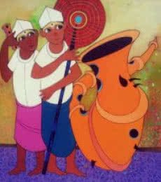 Figurative Acrylic Art Painting title 'Folk Men' by artist Dnyaneshwar Bembade