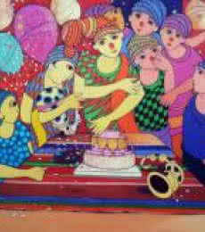 Birthday Celebration | Painting by artist Dnyaneshwar Bembade | acrylic | Canvas