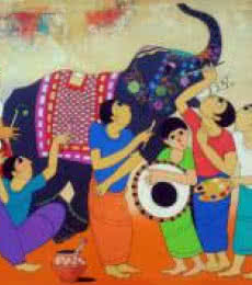 Anime Acrylic Art Painting title 'King Of Elephant' by artist Dnyaneshwar Bembade