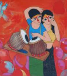 Anime Acrylic Art Painting title 'Love' by artist Dnyaneshwar Bembade