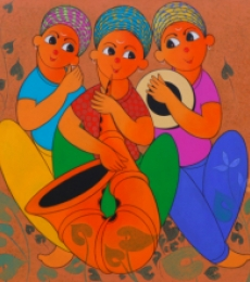Figurative Acrylic Art Painting title 'Musical Enjoy 1' by artist Dnyaneshwar Bembade