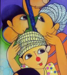 Anime Acrylic Art Painting title 'Musical Friends' by artist Dnyaneshwar Bembade