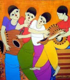 Musical Man | Painting by artist Dnyaneshwar Bembade | acrylic | Canvas