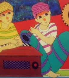 Musician | Painting by artist Dnyaneshwar Bembade | acrylic | Canvas