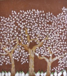 Nature Oil Art Painting title 'Tribhovan' by artist Sumit Mehndiratta