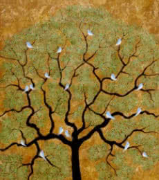 Nature Acrylic Art Painting title 'By The Tree' by artist Sumit Mehndiratta