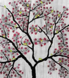 Nature Acrylic Art Painting title 'Cherry Blossom' by artist Sumit Mehndiratta