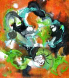 Abstract Acrylic Art Painting title 'Pop Fluid No 1' by artist Sumit Mehndiratta