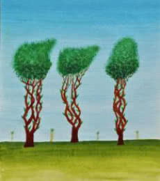 Sumit Mehndiratta | Acrylic Painting title Trees Of Jasoon on Paper | Artist Sumit Mehndiratta Gallery | ArtZolo.com