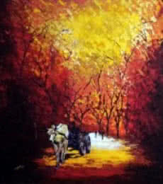 Bullock Cart | Painting by artist Ganesh Panda | acrylic | Canvas