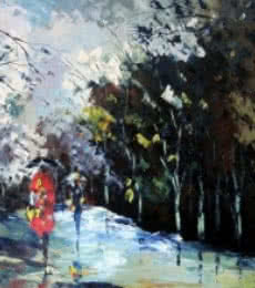Ganesh Panda | Oil Painting title Monsoon Walk on Canvas | Artist Ganesh Panda Gallery | ArtZolo.com
