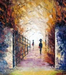 Nature Oil Art Painting title Rain On The Bridge by artist Ganesh Panda