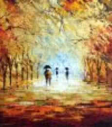 Romantic Walk In The Rain Ii | Painting by artist Ganesh Panda | acrylic | Canvas