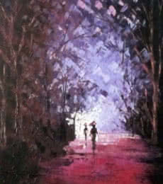 The Purple Monsoon | Painting by artist Ganesh Panda | oil | Canvas