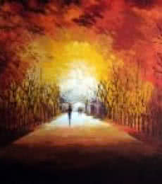 Walking Towards Sunshine | Painting by artist Ganesh Panda | acrylic | Canvas
