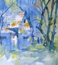 Landscape Watercolor Art Painting title 'WATERCOLOUR LANDSCAPES' by artist Sachin Naik
