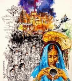Chhath   Painting by artist Shambhu Nath Goswami   mixed-media   Paper
