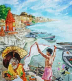 Morning In Banaras | Painting by artist Shambhu Nath Goswami | mixed-media | Paper