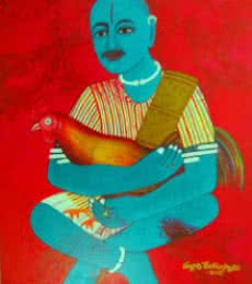 V.v. Swamy | Acrylic Painting title Cock Fighter on Canvas | Artist V.v. Swamy Gallery | ArtZolo.com