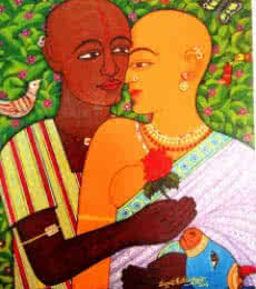 Figurative Acrylic Art Painting title 'Expression Of Love' by artist V.v. Swamy