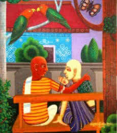Figurative Acrylic Art Painting title 'Family Gossip' by artist V.v. Swamy