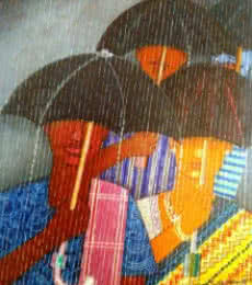 Figurative Acrylic Art Painting title 'Rainey Season' by artist V.v. Swamy