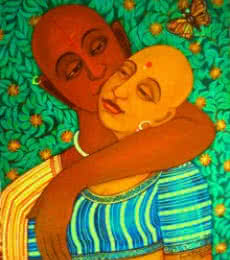 Figurative Acrylic Art Painting title Sweet Kiss by artist V.v. Swamy