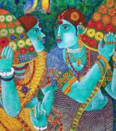 Gossiping Women | Painting by artist Bhawandla Narahari | acrylic | Canvas