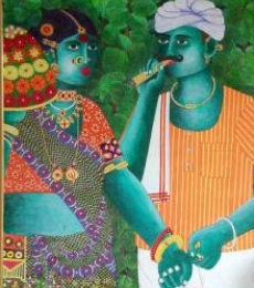 Bhawandla Narahari Paintings | Acrylic Painting - Bonalu 1 by artist Bhawandla Narahari | ArtZolo.com
