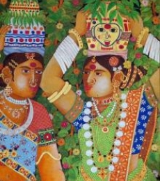 Bhawandla Narahari Paintings | Acrylic Painting - Bonalu by artist Bhawandla Narahari | ArtZolo.com
