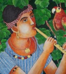 Figurative Acrylic Art Painting title 'Boy With Parrot' by artist Bhawandla Narahari