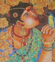 Figurative Acrylic Art Painting title 'Lady With Parrot 1' by artist Bhawandla Narahari