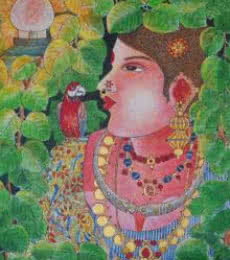 Lady With Parrot 2 | Painting by artist Bhawandla Narahari | acrylic | Canvas