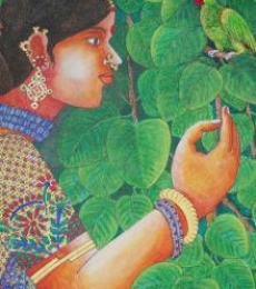 Lady With Parrot 3 | Painting by artist Bhawandla Narahari | acrylic | Canvas