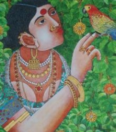 Figurative Acrylic Art Painting title 'Lady With Parrot 4' by artist Bhawandla Narahari