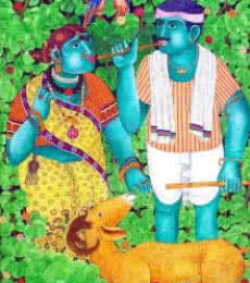 Figurative Acrylic Art Painting title 'Couple With Goat 1' by artist Bhawandla Narahari