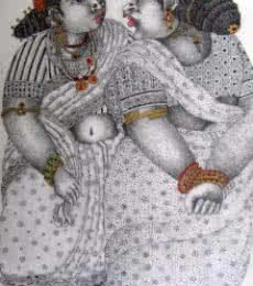 Figurative Acrylic Art Painting title Gossip by artist Bhawandla Narahari