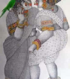 Women With Parrot - 3   Painting by artist Bhawandla Narahari   acrylic   Paper