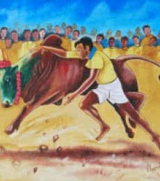 RAGUNATH | Oil Painting title NO MORE JALLIKATTU IN INDIA on Canvas | Artist RAGUNATH Gallery | ArtZolo.com