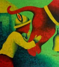 Childhood Memories | Painting by artist Lakhan Singh Jat | acrylic | Canvas