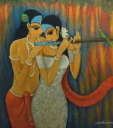 Figurative Oil Art Painting title 'Radha Krishna II' by artist Pallavi Walunj
