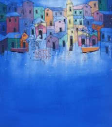 Suresh Gulage | Acrylic Painting title Village on Canvas | Artist Suresh Gulage Gallery | ArtZolo.com
